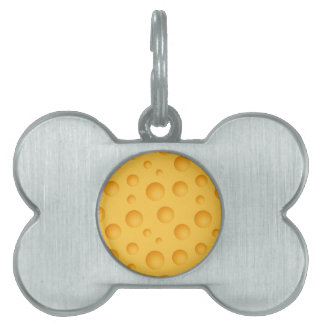 Yellow Cheese Pattern Pet ID Tag