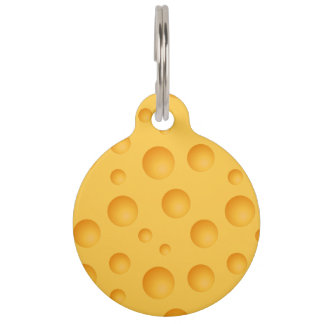 Yellow Cheese Pattern Pet Name Tag