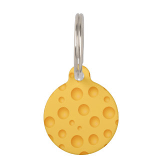 Yellow Cheese Pattern Pet Tag
