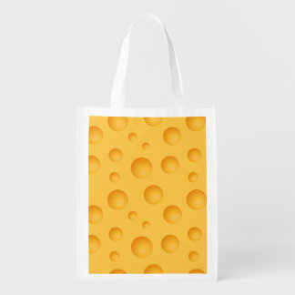 Yellow Cheese Pattern Reusable Grocery Bag