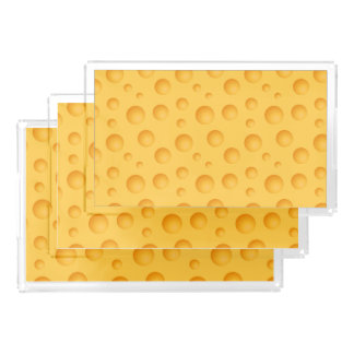 Yellow Cheese Pattern Serving Tray