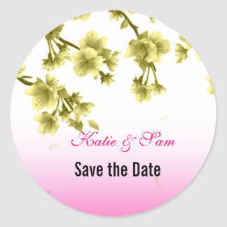 Yellow Cherry Blossom Save the Date Round Stickers