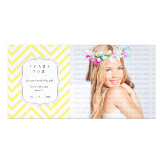 Yellow Chevron - Any Occasion Thank you Photo Cards