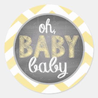 Yellow Chevron Baby Shower Round Sticker