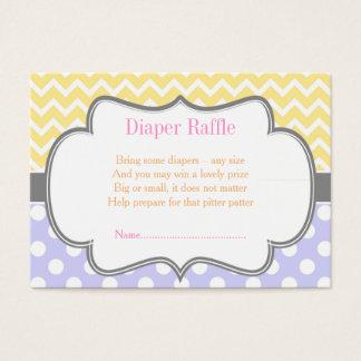 Yellow Chevron & Blue Polka Dot Diaper Raffle Business Card