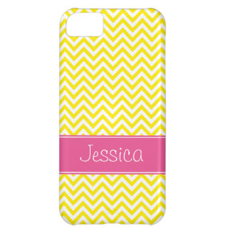 Yellow Chevron Chic Pink Personalized iPhone 5C Cover