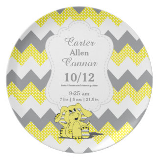 Yellow Chevron Elephant - Birth Information Plate