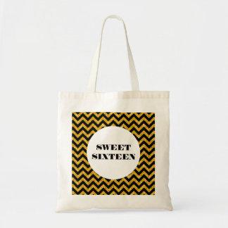 Yellow Chevron Glitter Sweet 16 Tote Bag
