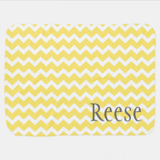 Yellow Chevron Grey Custom Name Baby Blanket