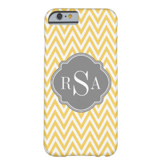 Yellow Chevron Grey Monogram Initial Letters Barely There iPhone 6 Case