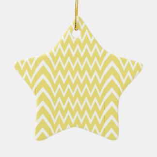 Yellow Chevron Illusion Ceramic Ornament