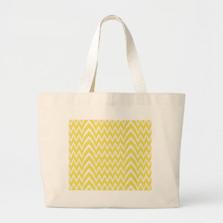 Yellow Chevron Illusion Large Tote Bag