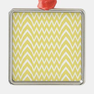 Yellow Chevron Illusion Metal Ornament