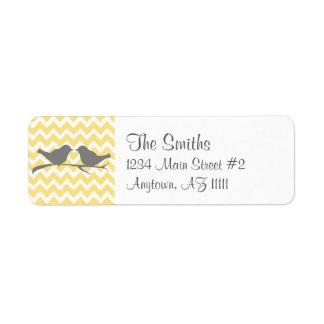 Yellow Chevron Lovebirds Return Address Label