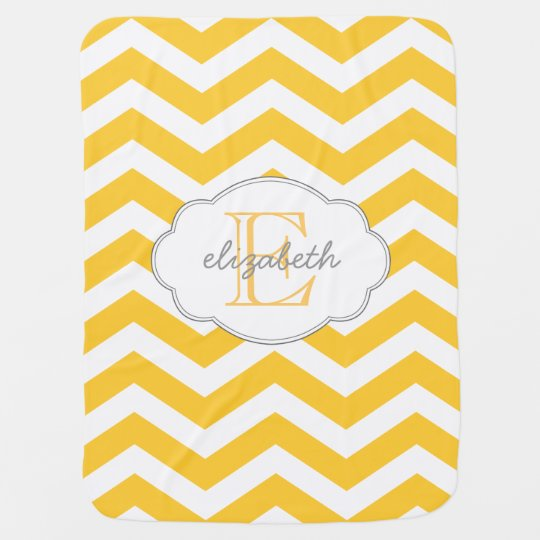 Yellow Chevron Monogram Baby Blanket