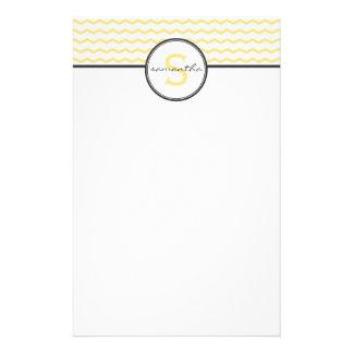 Yellow Chevron Monogram Stationery Paper