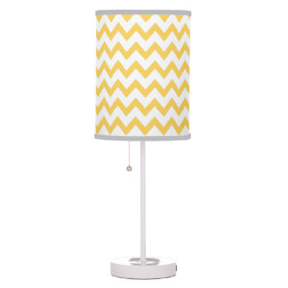 Yellow Chevron on white with grey trimming Table Lamp