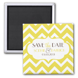 Yellow Chevron Pattern Save the Date Magnet