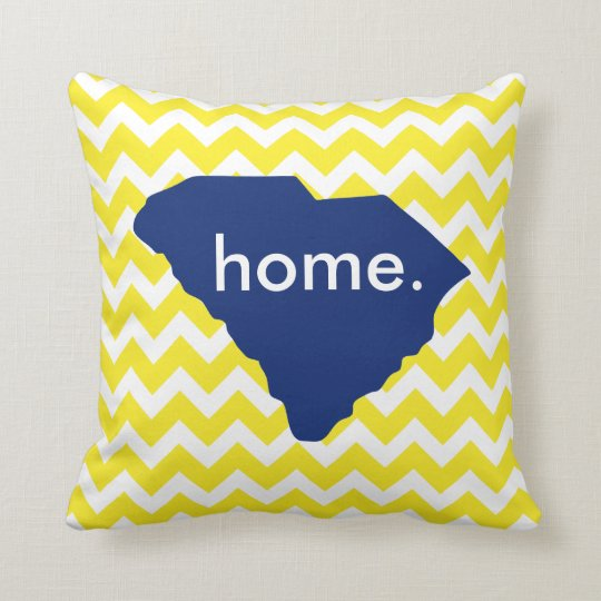 Yellow Chevron South Carolina State Home Pillow