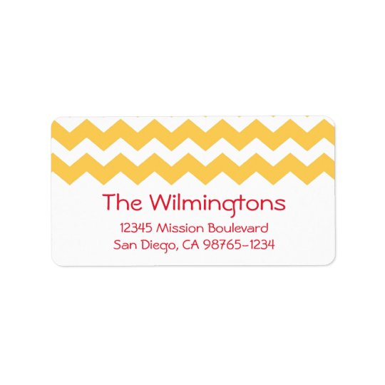 Yellow chevron zigzag pattern return address
