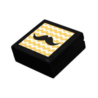 Yellow chevron zigzag pattern trinket mustache gift boxes