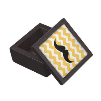 Yellow chevron zigzag pattern trinket mustache premium trinket boxes