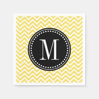 Yellow Chevron Zigzag Personalized Monogram Disposable Napkin