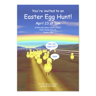 Yellow Chick Road Easter Egg Hunt Card