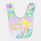 Yellow Chick with Pastel Eggs MY FIRST EASTER Bib