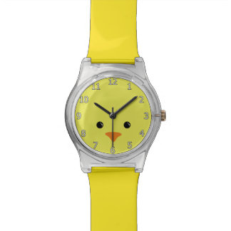 Yellow Chicken Cute Animal Face Design Watch