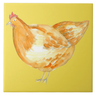 Yellow Chicken Hen Tile