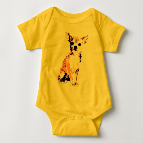 Yellow Chihuahua Cute Baby Bodysuit