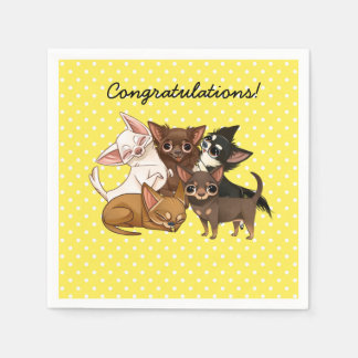 Yellow Chihuahua Paper Party Napkins