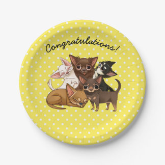Yellow Chihuahua Paper Party Plates