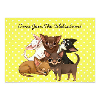 Yellow Chihuahua Party Invitations