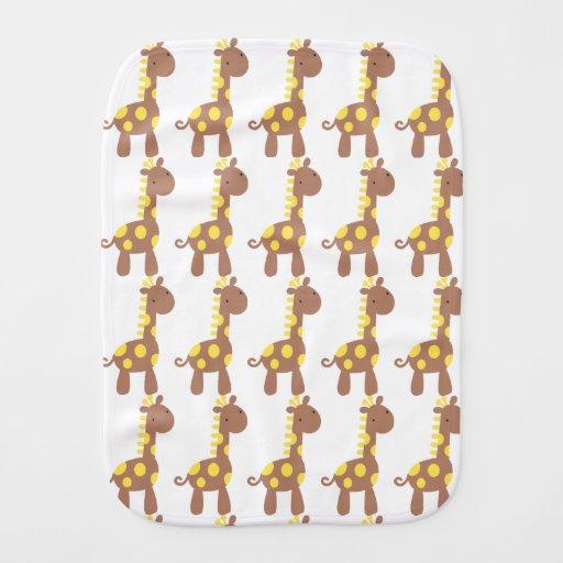 Yellow & Chocolate Baby Giraffe Burp Cloths Burp Cloths