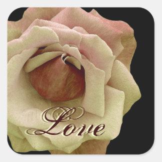 Yellow Chocolate LOVE Wedding Rose Square Sticker