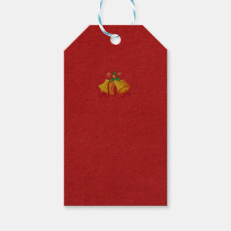 Yellow Christmas Bells on Red Gift Tag