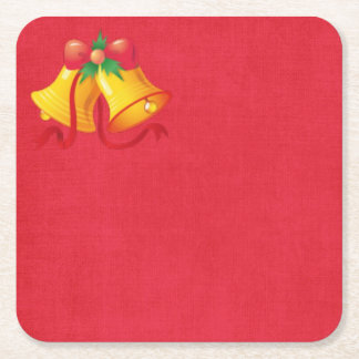 Yellow Christmas Bells on Red Paper Coaster