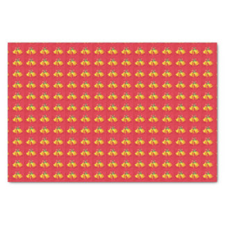 Yellow Christmas Bells on Red Tissue Paper