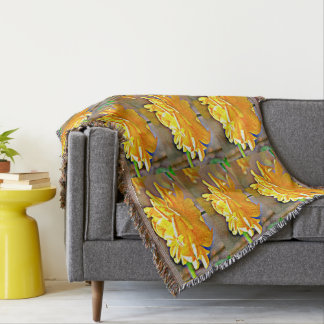 Yellow Chromatic Rose Custom Throw Blanket