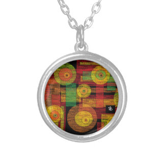 yellow circle silver plated necklace