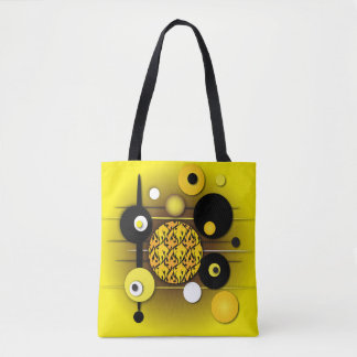 yellow circles abstract tote bag
