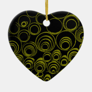Yellow circles, rolls, ovals abstraction pattern ceramic heart ornament