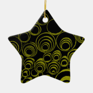 Yellow circles, rolls, ovals abstraction pattern ceramic star ornament