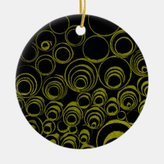 Yellow circles, rolls, ovals abstraction pattern round ceramic ornament