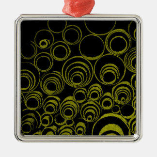 Yellow circles, rolls, ovals abstraction pattern Silver-Colored square ornament