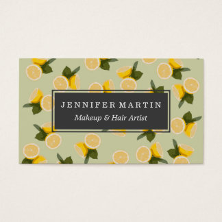 Yellow Citrus Lemon Fruit on Pale Lime Green Business Card