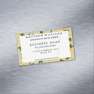 Yellow Citrus Lemon Fruit on Pale Lime Green Business Card Magnet