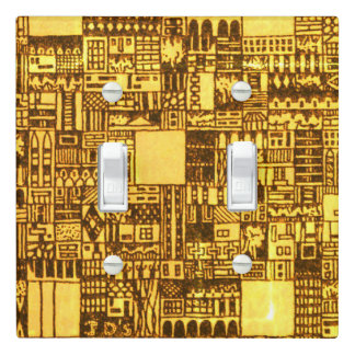 Yellow Cityscape Drawing Light Switch Cover